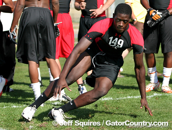 Coconut Grove (Ransom Everglades School) linebacker Gideon Ajagbe works out at the Under Armour underclassman combine on Jan. 4, 2009 in Orlando. / Gator Country photo by Jeff Squires