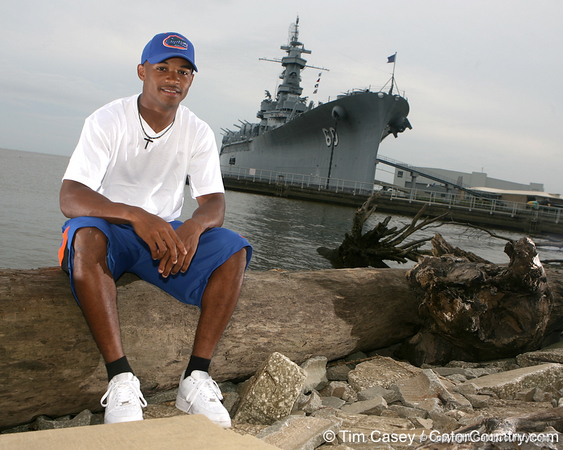 Mobile, Ala. (Murphy HS) wide receiver Solomon Patton poses for a photo on Oct. 11, 2009 at Battleship Park, site of the site of the USS Alabama, on Mobile Bay in Mobile, Ala. / Gator Country photo by Tim Casey