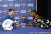 Gator Country reporter Justin Wells interviews Bradenton (Southeast HS) safety Jonathan Dowling after he announced his selection to play in the Under Armour All-America Game on Friday, November 6, 2009 at Southeast High School in Bradenton, Fla. / Gator Country photo by Tim Casey