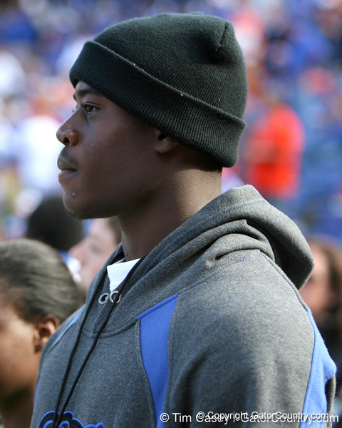 Palm Beach Gardens (Dwyer HS) tight end Gerald Christian watches before the Gators' 37-10 win against Florida State on Saturday, November 28, 2009 at Ben Hill Griffin Stadium in Gainesville, Fla. / Gator Country photo by Tim Casey