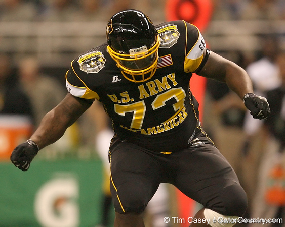Philadelphia (George Washington HS) defensive tackle Sharrif Floyd celebrates after sacking the quarterback during the first half of the U.S. Army All-American Bowl on Saturday, January 9, 2010 at the Alamodome in San Antonio, Texas. / Gator Country photo by Tim Casey