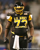 Philadelphia (George Washington HS) defensive tackle Sharrif Floyd lines up during the first half of the U.S. Army All-American Bowl on Saturday, January 9, 2010 at the Alamodome in San Antonio, Texas. / Gator Country photo by Tim Casey