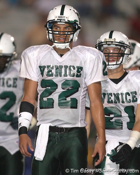 Nokomis (Venice HS) quarterback Trey Burton talks to teammates during the Indians' 34-10 win against the Southeast Seminoles on Friday, October 2, 2009 at John Kiker Memorial Stadium in Bradenton, Fla. / Gator Country photo by Tim Casey