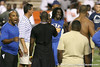 Florida head coach Urban Meyer talks with Pahokee (Pahokee HS) wide receiver Chris Dunkley and Lithonia, Ga. (King HS) running back Mack Brown during Friday Night Lights, a one-night football camp at the University of Florida, on Friday, July 24, 2009 at Ben Hill Griffin Stadium in Gainesville, Fla. / Gator Country photo by Tim Casey