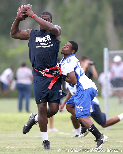Palm Beach Gardens (Dwyer HS) tight end Gerald Christian works out during the Heath Evans Foundation's 4th Annual 7-on-7 Championship on Saturday, June 20, 2009 at The King's Academy in West Palm Beach, Fla. / Gator Country photo by Tim Casey<br /> <br /> The event was held to help raise funds for The Heath Evans Foundation that is dedicated to fostering hope and healing in the lives of children and families affected by sexual abuse.