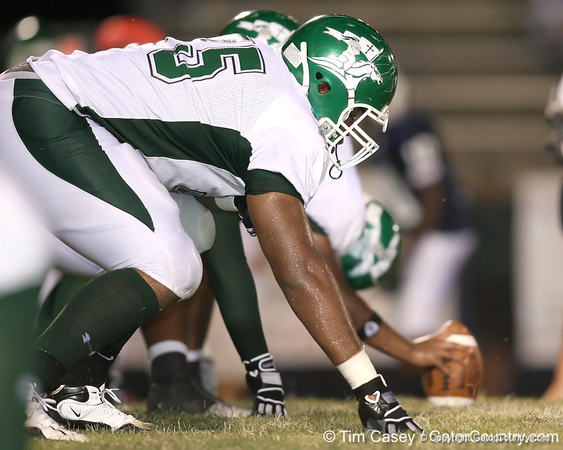 Tampa (Tampa Catholic HS) offensive lineman Chaz Green lines up during the Crusaders' 28-14 win against the South Lake Eagles on Friday, September 4, 2009 at South Lake High School in Groveland, Fla. / Gator Country photo by Tim Casey