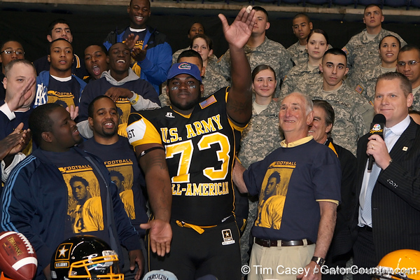 Philadelphia (George Washington HS) defensive tackle Sharrif Floyd announces his verbal commitment to play at the University of Florida during halftime of the U.S. Army All-American Bowl on Saturday, January 9, 2010 at the Alamodome in San Antonio. / Gator Country photo by Tim Casey