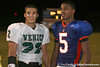 Nokomis (Venice HS) quarterback Trey Burton and Bradenton (Southeast HS) safety Jonathan Dowling talk after the Indians' 34-10 win against the Seminoles on Friday, October 2, 2009 at John Kiker Memorial Stadium in Bradenton, Fla. / Gator Country photo by Tim Casey