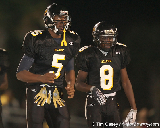 """Tampa (Blake HS) tight end Michael McFarland lines up during the Thomas Jefferson High School's 49-2 win against the Yellow Jackets on Friday, November 6, 2009 at James """"Big Jim"""" Williams Stadium in Tampa, Fla. / Gator Country photo by Tim Casey"""