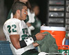 Nokomis (Venice HS) quarterback Trey Burton rests on the bench during the Indians' 34-10 win against the Southeast Seminoles on Friday, October 2, 2009 at John Kiker Memorial Stadium in Bradenton, Fla. / Gator Country photo by Tim Casey