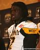 Moreno Valley, Calif. (Rancho Verde HS) defensive end Ronald Powell is introduced at a press conference after the fourth day of practice for the U.S. Army All-American Bowl on Thursday, January 7, 2010 at the Grand Hyatt Hotel in San Antonio. / Gator Country photo by Tim Casey