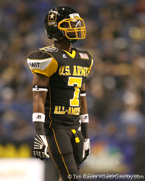 Cape Coral (Cape Coral HS) cornerback Jaylen Watkins lines up during the first half of the U.S. Army All-American Bowl on Saturday, January 9, 2010 at the Alamodome in San Antonio, Texas. / Gator Country photo by Tim Casey