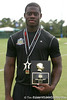 Palm Beach Gardens (Dwyer HS) tight end Gerald Christian poses with the offensive MVP Trophy after the inaugural ESPN RISE Games' Gridiron Kings 7-on-7 tournament on Saturday, July 25, 2009 at Disney's Wide World of Sports Complex in Lake Buena Vista, Fla. / Gator Country photo by Tim Casey