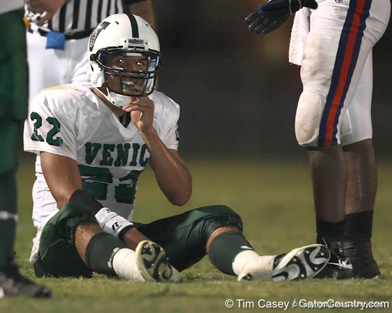 Nokomis (Venice HS) quarterback Trey Burton sits on the field during the Indians' 34-10 win against the Southeast Seminoles on Friday, October 2, 2009 at John Kiker Memorial Stadium in Bradenton, Fla. / Gator Country photo by Tim Casey