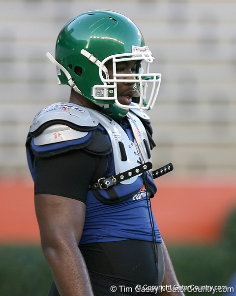 Tampa (Tampa Catholic HS) offensive lineman Chaz Green works out during Friday Night Lights, a one-night football camp at the University of Florida, on Friday, July 24, 2009 at Ben Hill Griffin Stadium in Gainesville, Fla. / Gator Country photo by Tim Casey