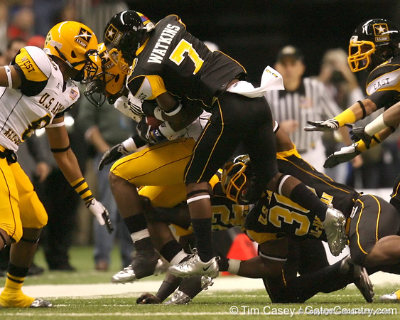 Cape Coral (Cape Coral HS) cornerback Jaylen Watkins makes a tackle during the first half of the U.S. Army All-American Bowl on Saturday, January 9, 2010 at the Alamodome in San Antonio, Texas. / Gator Country photo by Tim Casey