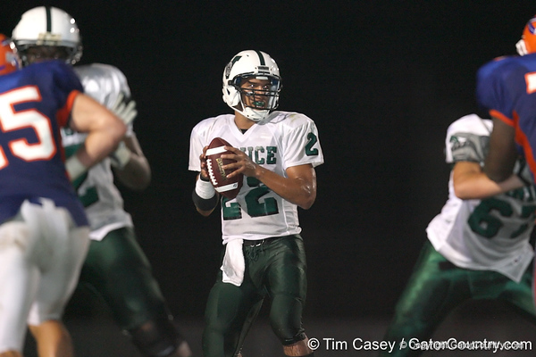 Nokomis (Venice HS) quarterback Trey Burton passes during the Indians' 34-10 win against the Southeast Seminoles on Friday, October 2, 2009 at John Kiker Memorial Stadium in Bradenton, Fla. / Gator Country photo by Tim Casey