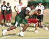 New Port Richey (Gulf HS) defensive tackle Leon Orr runs a pass route during the New Level Athletics/ Badger Sport Pass Camp on Saturday, March 14, 2009 at the USF Campus Recreation Fowler fields in Tampa, Fla. / Gator Country photo by Tim Casey