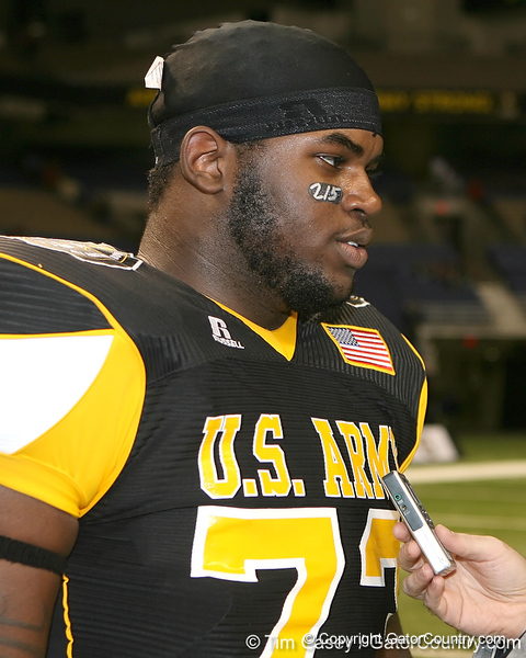 Philadelphia (George Washington HS) defensive tackle Sharrif Floyd talks to a reporter after the U.S. Army All-American Bowl on Saturday, January 9, 2010 at the Alamodome in San Antonio, Texas. / Gator Country photo by Tim Casey