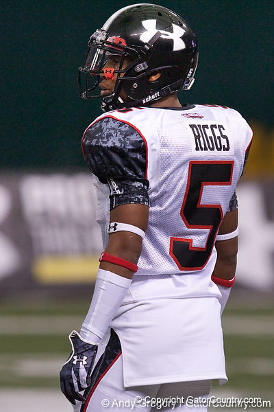 Fort Lauderdale (St. Thomas Aquinas HS) cornerback Cody Riggs lines up during the Under Armour All-America High School Football Game on Jan. 3, 2010 at Tropicana Field in St. Petersburg, Fla. / Gator Country photo by Andy Gregory