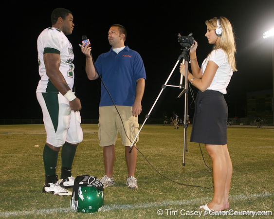 Tampa (Tampa Catholic HS) offensive lineman Chaz Green gets interviewed by Justin Wells after the Crusaders' 28-14 win against the South Lake Eagles on Friday, September 4, 2009 at South Lake High School in Groveland, Fla. / Gator Country photo by Tim Casey