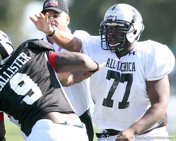 photo by Tim Casey<br /> <br /> Offensive guard Peter White (undecided) works out during the first day of practice leading up to the Under Armour All-America Game on Wednesday, December 31, 2008 at Disney's Wide World of Sports Complex in Lake Buena Vista, Fla.