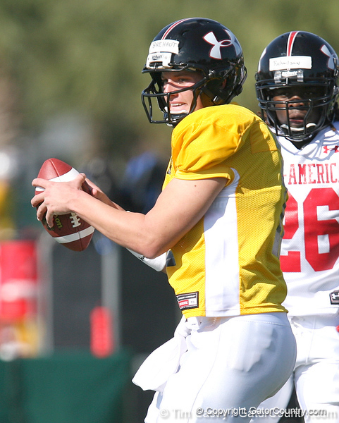 photo by Tim Casey<br /> <br /> Quarterback Richard Brehaut (UCLA commit) works out during the first day of practice leading up to the Under Armour All-America Game on Wednesday, December 31, 2008 at Disney's Wide World of Sports Complex in Lake Buena Vista, Fla.
