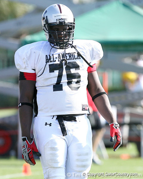 photo by Tim Casey<br /> <br /> Offensive guard Quinton Washington (undecided) works out during the first day of practice leading up to the Under Armour All-America Game on Wednesday, December 31, 2008 at Disney's Wide World of Sports Complex in Lake Buena Vista, Fla.