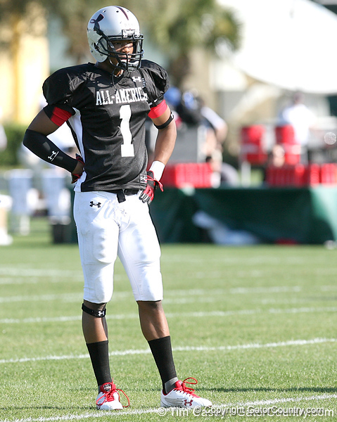 photo by Tim Casey<br /> <br /> Safety Darren Myles, Jr. (undecided) works out during the first day of practice leading up to the Under Armour All-America Game on Wednesday, December 31, 2008 at Disney's Wide World of Sports Complex in Lake Buena Vista, Fla.