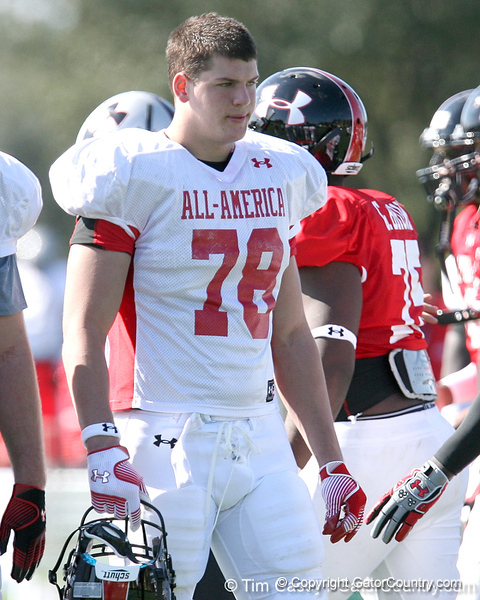 photo by Tim Casey<br /> <br /> Offensive tackle Taylor Lewan (Michigan commit) works out during the first day of practice leading up to the Under Armour All-America Game on Wednesday, December 31, 2008 at Disney's Wide World of Sports Complex in Lake Buena Vista, Fla.