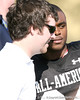 photo by Tim Casey<br /> <br /> Gator Country reporter Cody Jones and Florida commit Greg Reid talk during the first day of practice leading up to the Under Armour All-America Game on Wednesday, December 31, 2008 at Disney's Wide World of Sports Complex in Lake Buena Vista, Fla.