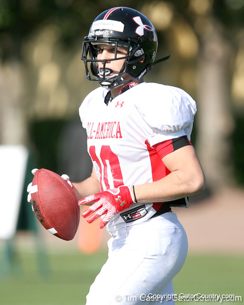 photo by Tim Casey<br /> <br /> Wide receiver Michael Campanaro (Wake Forest commit) works out during the first day of practice leading up to the Under Armour All-America Game on Wednesday, December 31, 2008 at Disney's Wide World of Sports Complex in Lake Buena Vista, Fla.