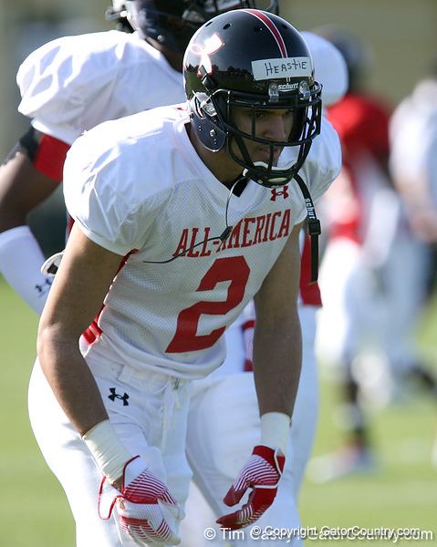 photo by Tim Casey<br /> <br /> Wide receiver Logan Heastie (West Virginia commit) works out during the first day of practice leading up to the Under Armour All-America Game on Wednesday, December 31, 2008 at Disney's Wide World of Sports Complex in Lake Buena Vista, Fla.