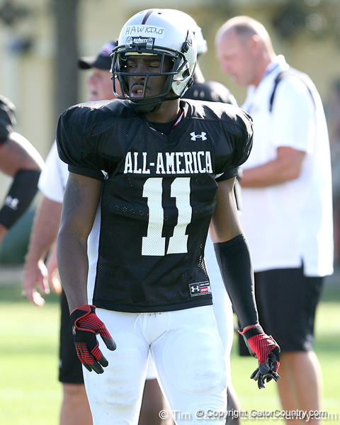 photo by Tim Casey<br /> <br /> Cornerback Travis Hawkins (Maryland commit) works out during the first day of practice leading up to the Under Armour All-America Game on Wednesday, December 31, 2008 at Disney's Wide World of Sports Complex in Lake Buena Vista, Fla.