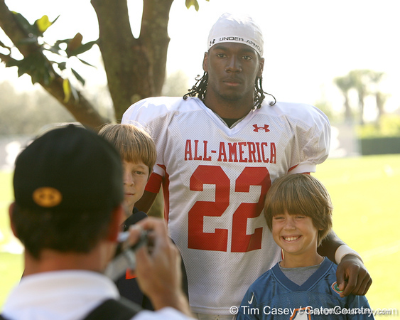 photo by Tim Casey<br /> <br /> Wide receiver Marlon Brown (undecided) works out during the first day of practice leading up to the Under Armour All-America Game on Wednesday, December 31, 2008 at Disney's Wide World of Sports Complex in Lake Buena Vista, Fla.
