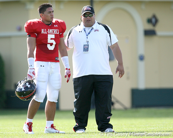 photo by Tim Casey<br /> <br /> Inside linebacker Manti Teo (undecided) works out during the first day of practice leading up to the Under Armour All-America Game on Wednesday, December 31, 2008 at Disney's Wide World of Sports Complex in Lake Buena Vista, Fla.