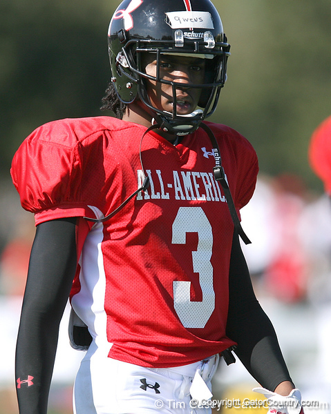 photo by Tim Casey<br /> <br /> Cornerback Darrell Givens (Penn State commit) works out during the first day of practice leading up to the Under Armour All-America Game on Wednesday, December 31, 2008 at Disney's Wide World of Sports Complex in Lake Buena Vista, Fla.