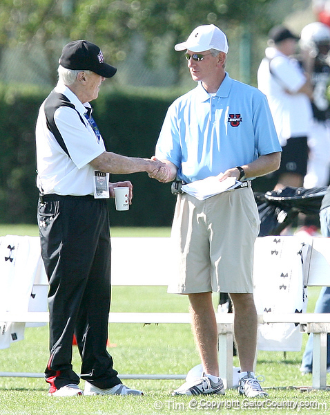 photo by Tim Casey<br /> <br /> White team head coach Marv Levy talks with Auburn head coach Tommy Tuberville during the first day of practice leading up to the Under Armour All-America Game on Wednesday, December 31, 2008 at Disney's Wide World of Sports Complex in Lake Buena Vista, Fla.