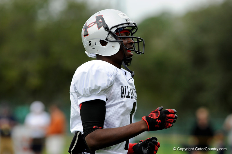 Photo by Casey Brooke Lawson<br /> <br /> Wide receiver Andre Debose works out during the third day of practice leading up to the Under Armour All-America Game on Friday, January 2, 2009 at Disney's Wide World of Sports Complex in Lake Buena Vista, Fla.