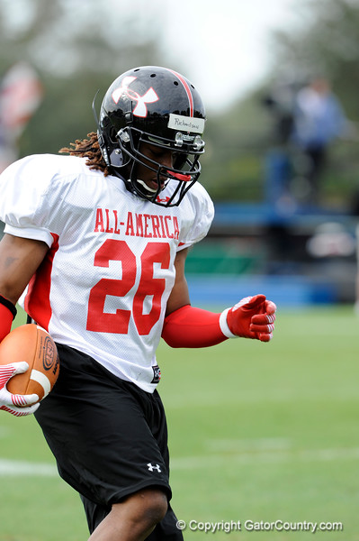 Photo by Casey Brooke Lawson<br /> <br /> Running back Trent Richardson (Alabama commitment) works out during the third day of practice leading up to the Under Armour All-America Game on Friday, January 2, 2009 at Disney's Wide World of Sports Complex in Lake Buena Vista, Fla.