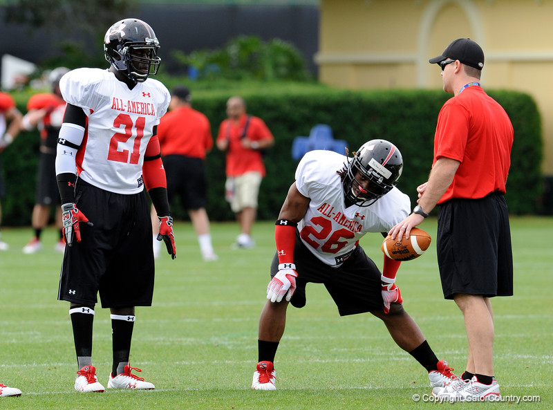 Photo by Casey Brooke Lawson<br /> <br /> Montrell Conner and Trent Richardson work out during the third day of practice leading up to the Under Armour All-America Game on Friday, January 2, 2009 at Disney's Wide World of Sports Complex in Lake Buena Vista, Fla.