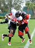 Photo by Casey Brooke Lawson<br /> <br /> Players collide during the third day of practice leading up to the Under Armour All-America Game on Friday, January 2, 2009 at Disney's Wide World of Sports Complex in Lake Buena Vista, Fla.