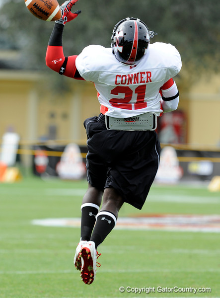 Photo by Casey Brooke Lawson<br /> <br /> Running back Montrell Conner works out during the third day of practice leading up to the Under Armour All-America Game on Friday, January 2, 2009 at Disney's Wide World of Sports Complex in Lake Buena Vista, Fla.