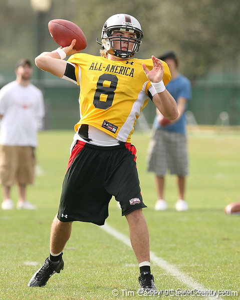 photo by Tim Casey<br /> <br /> Team Click-Clack quarterback Kyle Parker (Jacksonville - Clemson commitment) works out at the first day of practice for the Under Armour All-America High School Football Game on Monday, December 31, 2007 at Disney's Wide World of Sports Complex in Lake Buena Vista, Fla. The game will be played on Jan. 5, 2008.