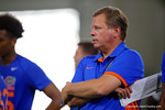 Florida Gators head coach Jim McElwain watches on as the Gators host their annual Friday Night Lights camp at Ben Hill Griffin Stadium and Indoor Practice Facility.  July 22nd, 2016.  Gator Country Photo by David Bowie.