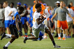 Florida Gators wide receiver recruit Jerry Jeudy catches the balll and sprints for the endzone as the Gators host their annual Friday Night Lights camp at Ben Hill Griffin Stadium and Indoor Practice Facility.  July 22nd, 2016.  Gator Country Photo by David Bowie.