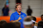 Florida Gators head coach Jim McElwain thanks all the high school football players for attending as the Gators host their annual Friday Night Lights camp at Ben Hill Griffin Stadium and  Practice Facility.  July 22nd, 2016.  Gator Country Photo by David Bowie.