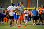 Florida Gators quarterback Luke Del Rio congratulates a camper as the Gators host their annual Friday Night Lights camp at Ben Hill Griffin Stadium and Indoor Practice Facility.  July 22nd, 2016.  Gator Country Photo by David Bowie.