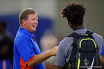 Florida Gators head coach Jim McElwain talking with recruits as the Gators host their annual Friday Night Lights camp at Ben Hill Griffin Stadium and Indoor Practice Facility.  July 22nd, 2016.  Gator Country Photo by David Bowie.