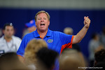 Florida Gators head coach Jim McElwain coaching up high school recruits as the Gators host their annual Friday Night Lights camp at Ben Hill Griffin Stadium and Indoor Practice Facility.  July 22nd, 2016.  Gator Country Photo by David Bowie.